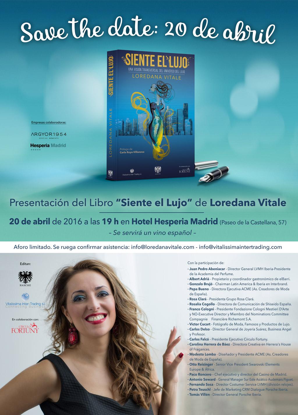 Siente el Lujo Save the Date presentación Madrid